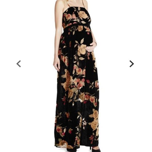 92a116b673d Jessica Simpson Dresses   Skirts - Jessica Simpson Maternity Velvet Black Floral  Maxi
